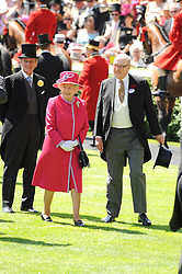 HRH THE DUKE OF EDINBURGH, HM THE QUEEN and the DUKE OF DEVONSHIRE a at the second day of the 2010 Royal Ascot Racing festival at Ascot Racecourse, Berkshire on 16th June 2010.
