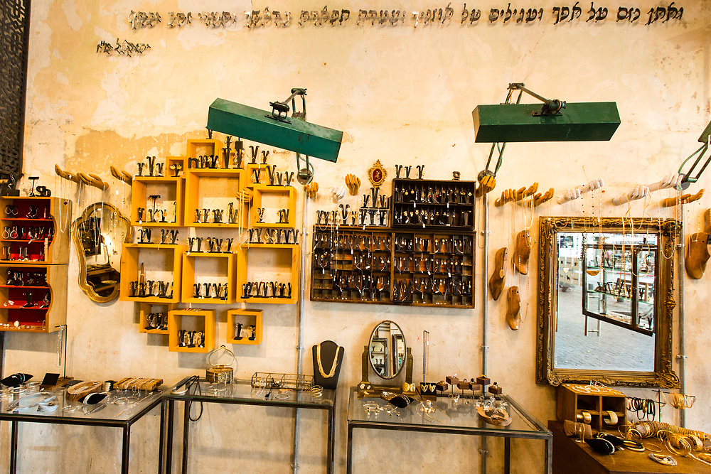 Jewelry and accessories are on display at Malka Jewelry store in Tel Aviv's Merkaz Hair neighborhood