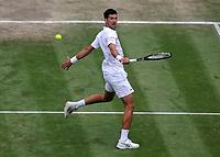Lawn Tennis - 2021 All England Championships - Week Two - Friday - Wimbledon<br /> Mens Semi Final - Novak Djokovic v Denis Shapovalov<br /> <br /> Novak Djokovic<br /> <br /> <br /> Credit : COLORSPORT/Andrew Cowie
