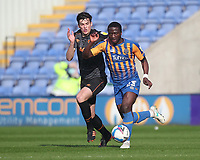 Hull City's Alfie Jones battles with  Shrewsbury Town's Daniel Udoh<br /> <br /> Photographer Mick Walker/CameraSport<br /> <br /> The EFL League 1 - Shrewsbury Town v Hull City  - Saturday  20th March  2021 -  Montgomery Waters Meadow Stadium-Shrewsbury<br /> <br /> World Copyright © 2020 CameraSport. All rights reserved. 43 Linden Ave. Countesthorpe. Leicester. England. LE8 5PG - Tel: +44 (0) 116 277 4147 - admin@camerasport.com - www.camerasport.com
