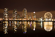 The city skyline of Vancouver and Science World, British Columbia, Canada.