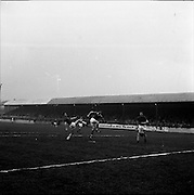 28/01/1962<br /> 01/28/1962<br /> 28 January 1962<br /> League of Ireland soccer: Cork Hibernians v Shelbourne at Tolka Park, Dublin.<br /> Mooney (Hibs) centre crashes the ball into the net to score his sides 1st goal.