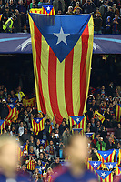 "Fans of FC Barcelona wave ""Estelada"" (pro-independent Catalonia flags) during the UEFA Champions League Group E football match between FC Barcelona and Bate Borisov on November 4, 2015 at Camp Nou stadium in Barcelona, Spain. <br /> Photo Manuel Blondeau/AOP.Press/DPPI"
