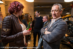 Francesco Agnoletto of MBE at the Mr. Martini Friday night party celebrating the opening of his bar / restaurant at the workshop during the Motor Bike Expo. Verona, Italy. January 22, 2016.  Photography ©2016 Michael Lichter.