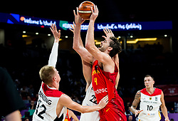 Pau Gasol of Spain vs Robin Benzing of Germany and Danilo Barthel of Germany during basketball match between National Teams of Germany and Spain at Day 13 in Round of 16 of the FIBA EuroBasket 2017 at Sinan Erdem Dome in Istanbul, Turkey on September 12, 2017. Photo by Vid Ponikvar / Sportida