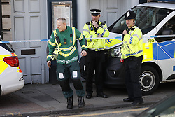 © Licensed to London News Pictures. 07/03/2018. Salisbury, UK. Emergency services least Zizzi Italian restaurant  where former Russian spy Sergei Skripal and his daughter visited before becoming ill with suspected poisoning. The couple where found unconscious on bench in Salisbury shopping centre. Specialist units have been called in to deal with any possible contamination. Photo credit: Peter Macdiarmid/LNP