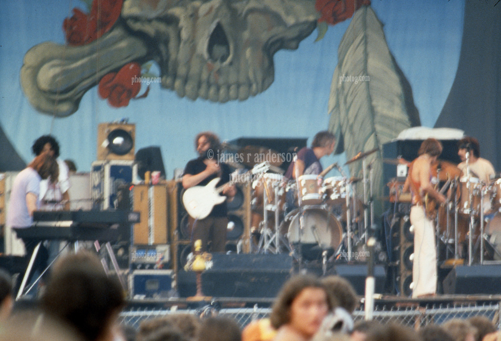 Hookah as seen on Stage as the Band (and photographer) get their respective acts together before they begin. Sorry about the blur. The Grateful Dead Concert at Raceway Park, Englishtown NJ on 3 September 1977, Labor Day Weekend. Fuzzy Shot.