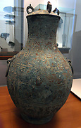 Chinese wine vase with lid. Eastern Zhou dynasty (770-256 BC), bronze, copper, encrusted, patinated
