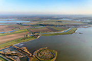 Nederland, Noord-Brabant, Werkendam, 07-02-2018; landschapskunstwerk De Wassende Maan van kunstenaar Paul de Kort: afhankelijk van het getij staan de spiralen van het labyrint meer of minder onder water. Het kunstwerk ligt in polder de Noordwaard in de Biesbosch. <br /> Landart from artist Paul de Kort, Growing Moon: depending on the height of the tide, the spiral willl be more or less visible. The art work lies in Polder Noordwaard (part of Biesbosch National Park).<br /> luchtfoto (toeslag op standard tarieven);<br /> aerial photo (additional fee required).<br /> copyright foto/photo Siebe Swart
