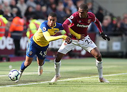 West Ham United's Issa Diop and Southampton's Yan Valery during the Premier League match at the London Stadium.