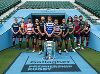 Football - 2019 / 2020 Gallagher Premiership Rugby - New Season Launch Media Photocall<br /> <br /> (From l to r), Sale Sharks' Chris Ashton, Harlequins' Mike Brown, Gloucester Rugby's Danny Cipriani, Saracens' Alex Goode, Exeter Chiefs' Don Armand, Bath Rugby's Rhys Priestland, Leicester Tigers' Tom Youngs, Worcester Warriors' Francois Hougaard, London Irish' Blair Cowan, Bristol Rugby's Nathan Hughes, Northampton Saints' Tom Wood, Wasps' Dan Robson, at Twickenham.<br /> <br /> COLORSPORT/ASHLEY WESTERN