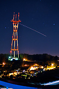 500px Photo ID: 4397150 - long exposure of a plane passing by sutro tower