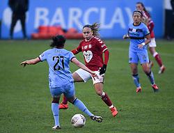 Kenza Dali of West Ham United Women is challenged by Ebony Salmon of Bristol City Women - Mandatory by-line: Ryan Hiscott/JMP - 13/12/2020 - FOOTBALL - Twerton Park - Bath, England - Bristol City Women v West Ham United Women - Barclays FA Women's Super League