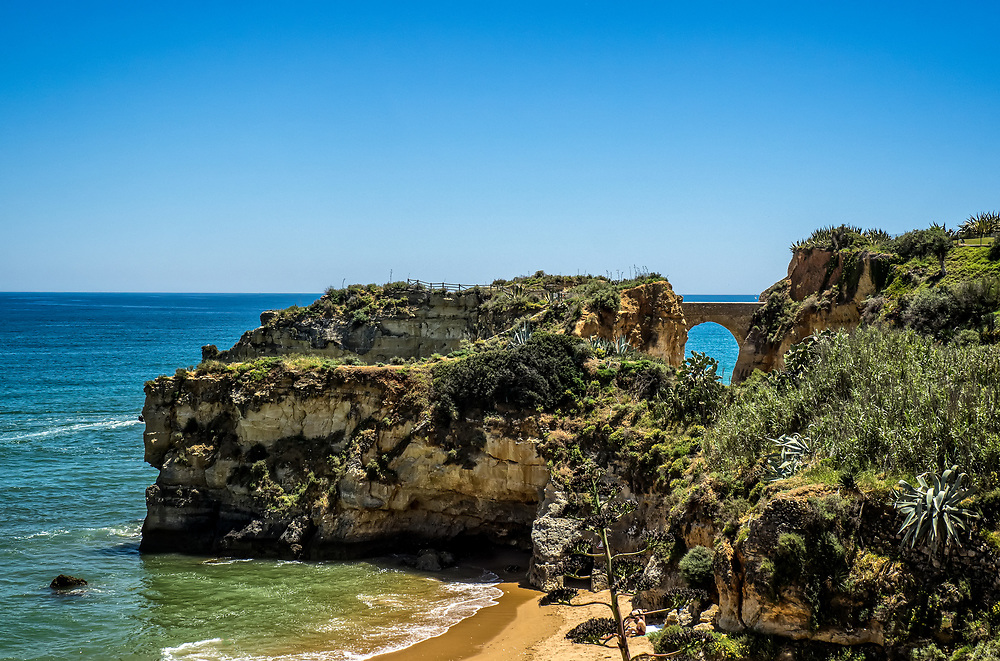 Beach with an arch on a sunny day in Lagos, Portugal
