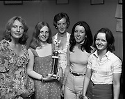 Pepsi Personality Girl, Swords.   (J64)..1975..13.07.1975..07.13.1975..13th July 1975..At Fingallian's GAA club, Ms Deirdre Murphy of St Columbas Road,Swords was selected as Miss Pepsi Personality Girl for the Swords district. Her selection was made at The Gala Marquee Dance in the club. the event was sponsored by Cantrell & Cochrane. The Dublin final will be held later this year...Image shows Ms Deirdre Murphy with family and friends after she won the Swords Heat of the Miss Pepsi Personality Girl Contest.