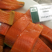 Smoked Salmon for sale at The Coromandel Smoking Company, Coromandel Town. New Zealand. 28th November 2010. Photo Tim Clayton..