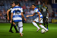 Football - 2021 / 2022 EFL Carabao Cup - Round Two - Queens Park Rangers vs Oxford United - Kyan Prince Foundation Stadium - Tuesday 24th August 2021.<br /> <br /> Chris Willock of Queens Park Rangers  holds off the challenge from Daniel Agyei of Oxford United.<br /> <br /> COLORSPORT/Ashley Western