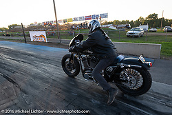 Chris Callen in the 4th Annual Baker Drivetrain All-in to go All-out free run what you brung drag race event at the Sturgis Speedway during the 78th annual Sturgis Motorcycle Rally. Sturgis, SD. USA. Tuesday August 7, 2018. Photography ©2018 Michael Lichter.