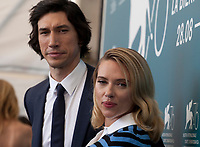 Adam Driver and Scarlett Johansson at the photocall for the film Marriage Story at the 76th Venice Film Festival, on Thursday 29th August 2019, Venice Lido, Italy.