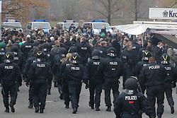 19.11.2011, Volkswagen Arena, Wolfsburg, GER, 1.FBL, VFL Wolfsburg vs Hannover 96, im Bild Polizeieinsatz gegen VfL WOB. Fans - diese wollten die Han96 Fans angreifen. // during the match from GER, 1.FBL,VFL Wolfsburg vs Hannover 96 on 2011/11/19, Volkswagen Arena, Wolfsburg, Germany..EXPA Pictures © 2011, PhotoCredit: EXPA/ nph/ Rust..***** ATTENTION - OUT OF GER, CRO *****
