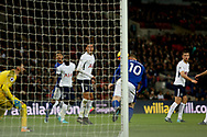 Wayne Rooney Of Everton 'scores' a goal but is ruled an offside goal. <br /> Premier league match, Tottenham Hotspur v Everton at Wembley Stadium in London on Saturday 13th January 2018.<br /> pic by Kieran Clarke, Andrew Orchard sports photography.