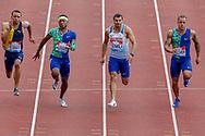 Andre De Grasse (Canada), Michael Rodgers (USA), Adam Gemili (Great Britain), Christopher Belcher (USA), Men's 100m Final during the Muller Grand Prix at the Alexander Stadium, Birmingham, United Kingdom on 18 August 2019.