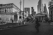 Bank of England & Royal Exchange London financial district during the Pandemic of Coronavirus April 1st 2020.<br /> Copyright Ki Price