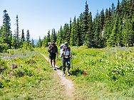 A couple hiking in the Mt.Hood National Forest while wearing masks in order to protect themselves from COVID-19