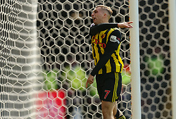 Watford's Gerard Delofeu celebrates scoring their first goal during the Premier League match at Vicarage Road, Watford.