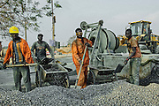 Young workers at the  workplace of a new central area in Sambizanga, Luanda, Angola.
