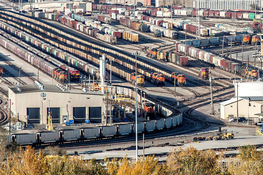 View of trains and rail yards in North Kansas City, Missouri, seen from roof of former Folgers Coffee Plant, taken during preparation work for conversion to loft apartments by O'Reilly Development Company.