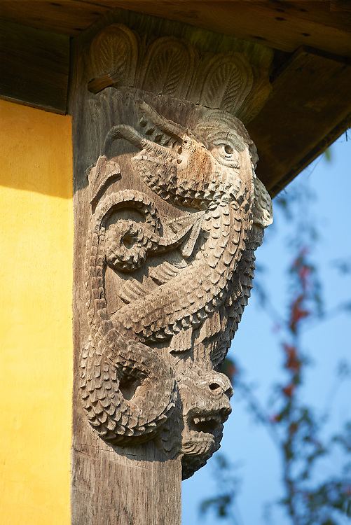 Medieval wood carving of a serpant on the gate house of the  finest fortified medieval manor house in England built in the 1280s, Stokesay Castle, Shropshire, England