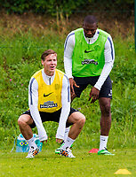 30/06/14<br /> CELTIC TRAINING<br /> AUSTRIA<br /> Celtic's Stefan Johansen (left) and Amido Balde in training.