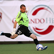 Richmond Goalkeeper Ronnie Pascale kicks the ball during a United Soccer League Pro soccer match between the Richmond Kickers and the Orlando City Lions at the Florida Citrus Bowl on May 25, 2011 in Orlando, Florida.  (AP Photo/Alex Menendez)