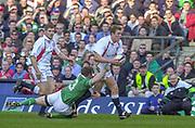 Twickenham. Surrey, UK., 16th February 2002, Six Nations International Rugby,  RFU Stadium, England vs Ireland,  [Mandatory Credit: Peter Spurrier/Intersport Images],<br /> <br /> The Lloyds TSB Six Nations Championship<br /> England v Ireland<br /> RFU - Twickenham<br /> 16/02/2002, Mike TINDELL  and [L] Ben COHEN,