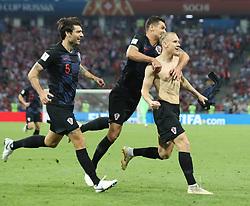 SOCHI, July 7, 2018  Domagoj Vida (R) of Croatia celebrates scoring during the 2018 FIFA World Cup quarter-final match between Russia and Croatia in Sochi, Russia, July 7, 2018. (Credit Image: © Cao Can/Xinhua via ZUMA Wire)