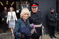 © Licensed to London News Pictures. 27/02/2013. London, United Kingdom. Camilla, Duchess of Cornwall leaves the Discover Children's Story Centre after a visit to see the centres children and facilities. Photo credit : Justin Setterfield/LNP
