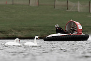 Towcester, England,  28-29th August 2010: 107 James Lewendon (UK) and swans during the World Hovercraft Championships at Towcester Race Course, Towcester, Nothamptonshire, UK (photo by Lee Irvine/SLIK images)