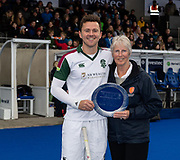 Surbiton's Alan Forsyth receives the player of the year award. Surbiton v Beeston - Men's Hockey League Finals, Lee Valley Hockey & Tennis Centre, London, UK on 28 April 2018. Photo: Simon Parker