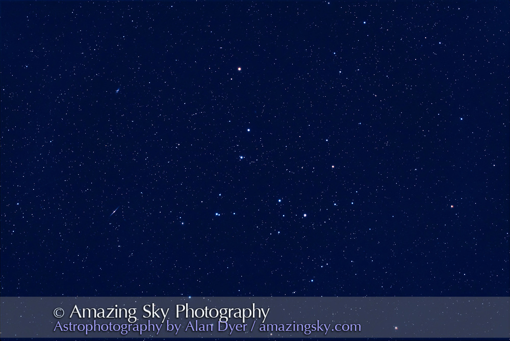 The Coma Berenices star cluster, aka Mel 111, with a smattering of galaxies, taken in the deepening twilight and growing moonlight of a spring evening. The edge-on galaxy NGC 4565 is at left.<br /><br />I shot this as a test of the William Optics RedCat 51mm f/5 astrographic refractor. This was on the iOptron SkyGuider Pro tracker, a popular portable mount to use with the RedCat. I used it unguided for a set of 2 minute exposures. But only 6 of the 12 images taken in quick succession were untrailed enough to be usable in the stack, about typical for shooting with a tracker unguided with focal lengths over 135mm.  <br /><br />This is a stack of 6 x 2-minutes at ISO 800 with the Canon EOS Ra. Stacked and blended in Photoshop CC. Taken as the waning gibbous Moon was rising this night on May 8, 2020.  The little RedCat astrograph is very sharp to the corners. The field is about 8° by 5.5°.
