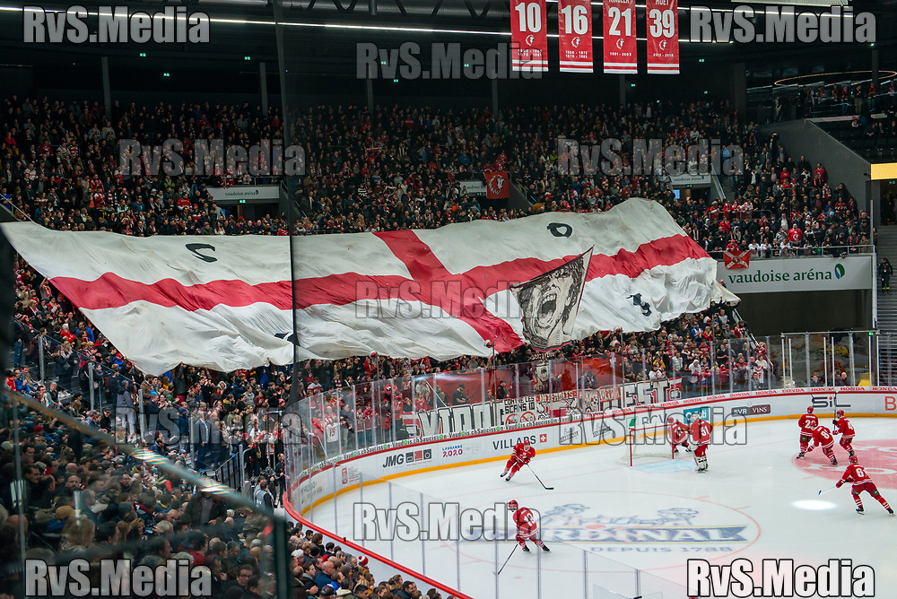 LAUSANNE, SWITZERLAND - NOVEMBER 23: LHC Fans with banner prior the Swiss National League game between Lausanne HC and Geneve-Servette HC at Vaudoise Arena on November 23, 2019 in Lausanne, Switzerland. (Photo by Robert Hradil/RvS.Media)