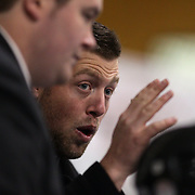 New Zealand coaching staff instruct the team during a time out during the China V New Zealand match during the 2012 IIHF Ice Hockey World Championships Division 3 held at Dunedin Ice Stadium. Dunedin, Otago, New Zealand. 21st January 2012. Photo Tim Clayton