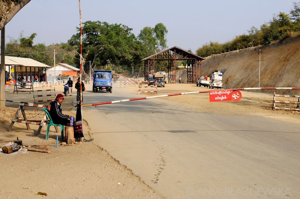 Myanmar/Burma. Checkpoint and barrier on the road in the eastern part of the country.
