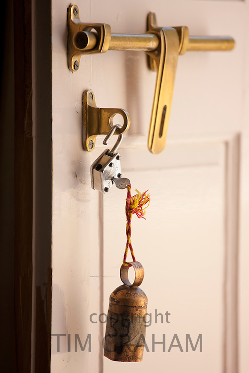 Padlock and key in Rohet Garh fortress palace heritage hotel in Rohet in Rajasthan, Northern India