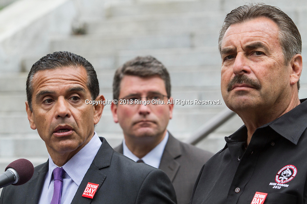 From left to right, Los Angeles City Mayor Antonio Villaraigosa, FBI Special Agent in Charge of the Criminal Division at the Los Angeles Field Office Tim Delaney and Los Angeles Police Department Chief Charlie Beck in the Interfaith Community United to Denounce Terrorism Press Conference on Wednesday, April 24, 2013 in Los Angeles. (Photo by Ringo Chiu/PHOTOFORMULA.com).
