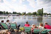Henley on Thames, England, United Kingdom, 7th July 2019, Henley Royal Regatta, Finals Day, The Diamond Challenge Sculls, left, Oliver . Zeidler, Germany takes a commanding lead over G.G. Krommenhoek from the  Netherlands, with both scullers passing through the Stewards Enclosure, Henley Reach, [© Peter SPURRIER/Intersport Image]<br /><br />15:26:57 1919 - 2019, Royal Henley Peace Regatta Centenary,