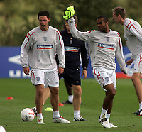 Photo: Paul Thomas.<br /> England Training Session. 01/09/2006.<br /> <br /> New Chelsea team mates Ashley Cole (R) and Wayne Bridge.