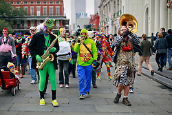 17 Feb 2015. New Orleans, Louisiana.<br /> Fat Tuesday. Mardi Gras Day. Faces in the crowd. Musicians dressed in costume parade for the day.<br /> Photo; Charlie Varley/varleypix.com