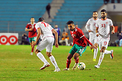 November 20, 2018 - Tunis, Tunisia - Soufiane Boufal (9)Moroccan players and Elyes Skhiri(17) during friendly Match between Tunisia and Morocco already qualified for the African Continental Tournament at the Olympic Stadium in Rades. (Credit Image: © Chokri Mahjoub/ZUMA Wire)