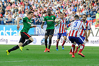 Atletico de Madrid´s Guilherme Siqueira and Athletic Club´s Guillermo Fernandez during 2014-15 La Liga match between Atletico de Madrid and Athletic Club at Vicente Calderon stadium in Madrid, Spain. May 02, 2015. (ALTERPHOTOS/Luis Fernandez)
